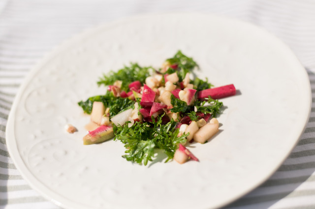 Autumn Salad: Mustard Greens & Watermelon Radish
