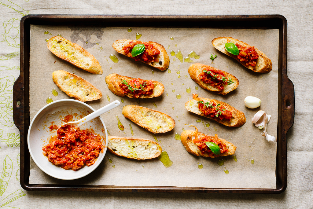 Summer Squash-Tomato Jam Crostini | Flavors of Light