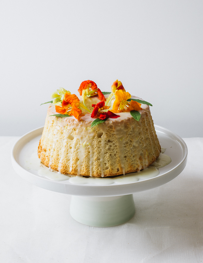 Angel Food Cake with Nasturtium Blossoms | Flavors of Light