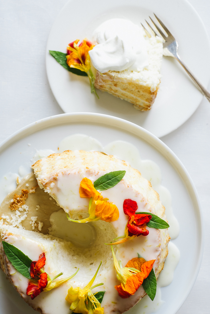 Angel Food Cake with Nasturtium Blossoms |Flavors of Light