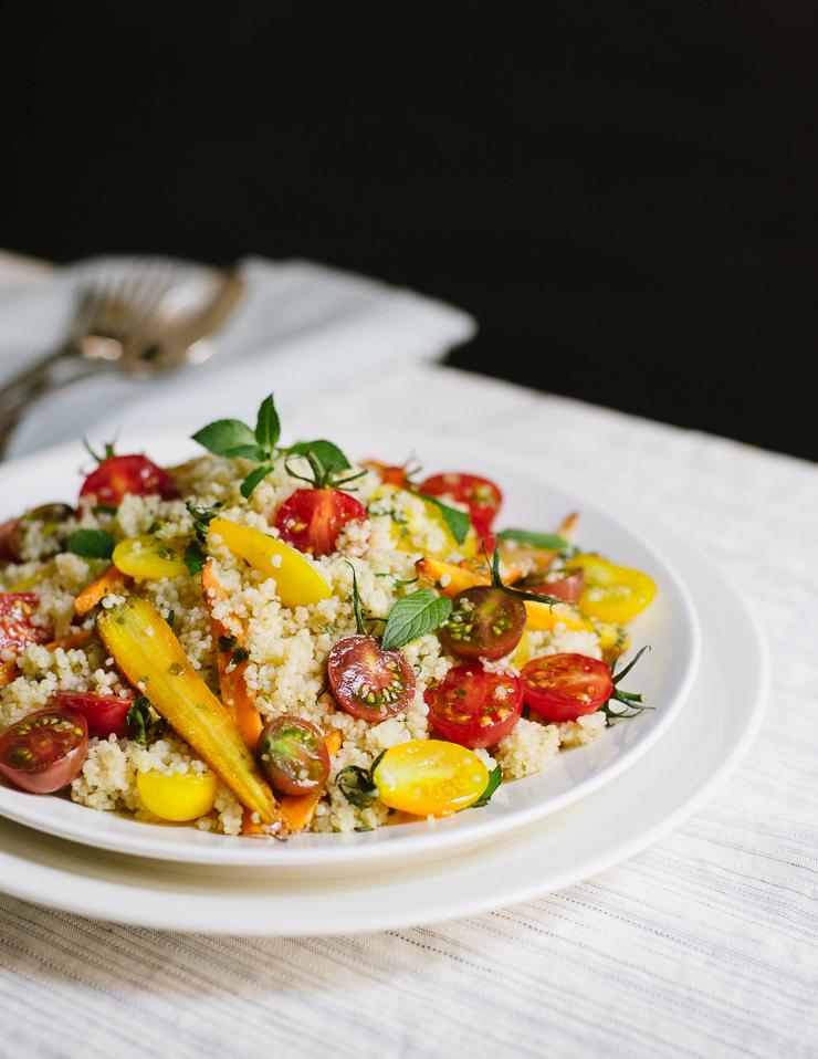 Cherry Tomato & Lemon Basil Couscous Salad |Flavors of Light
