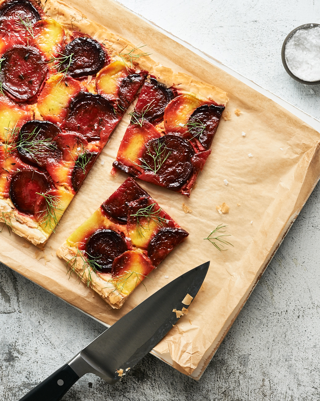 Colorful Roasted Beet and Fennel Tart | FlavorsOfLight.com