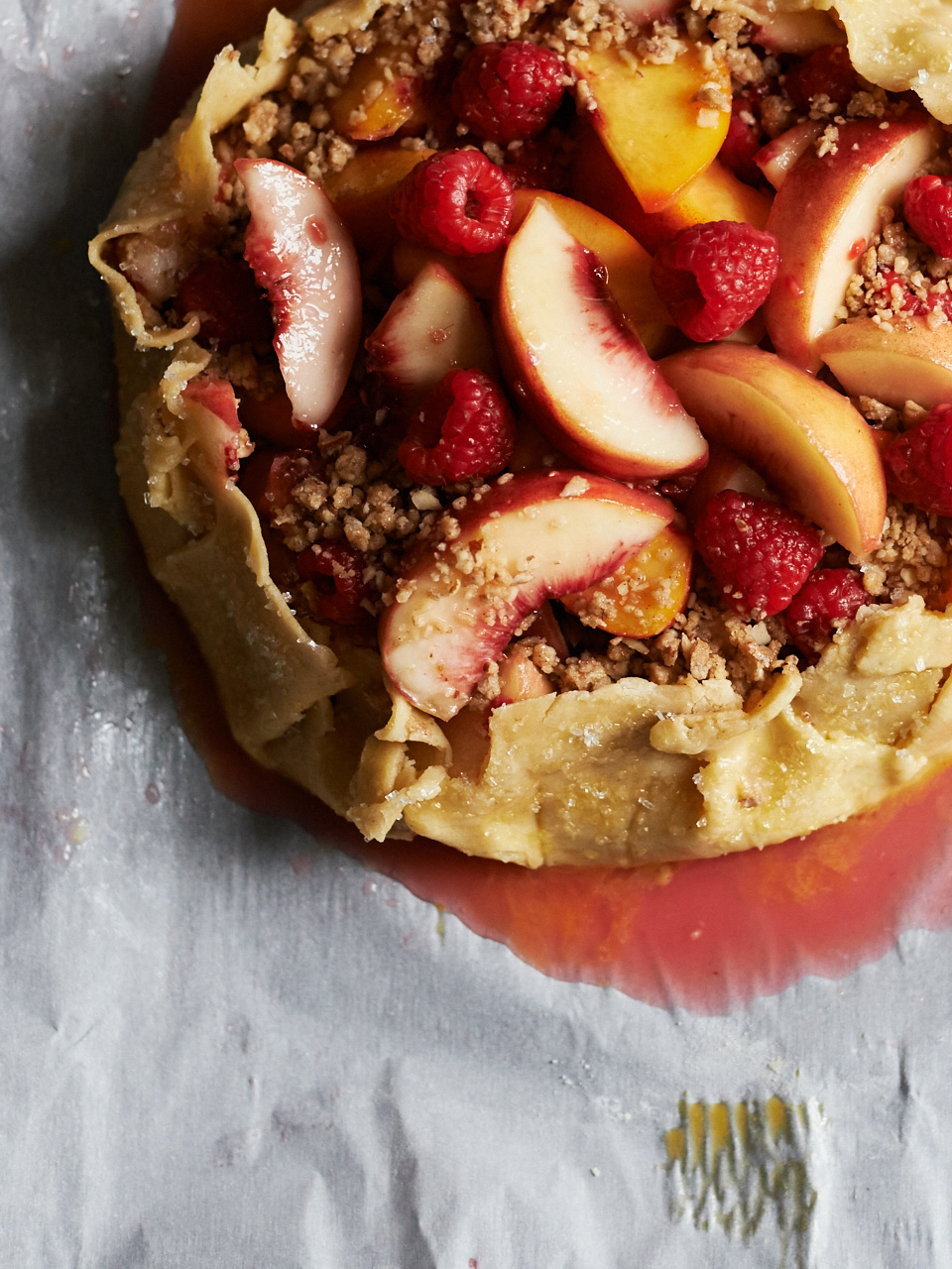 Peach & Raspberry Galette with Almond Crumbs | Flavors of Light