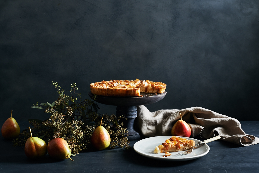 Pear Tart with Almonds & Salted Caramel | Flavors of Light